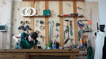 plywood : Woman in professional workshop Stock Footage