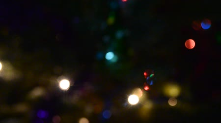 fete : Bright lights garlands multicolored light flashing in the dark at night new year on a festive fir tree with a toy twinkling fir needles on the street. Bokeh Stock Footage