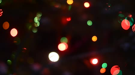 blurring : The bright lights of garlands of multi-colored light flashing in the darkness of Christmas night on a festive spruce with a flickering pine needles. Bokeh