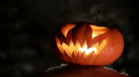 hatred : Burning pumpkin on Halloween. Looped Stock Footage