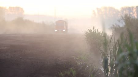 jedovatý : Truck crossing foggy forest