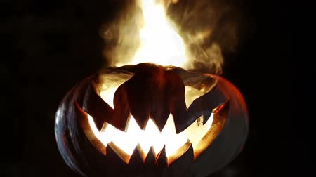 hatred : Burning smile pumpkin on Halloween. Looped