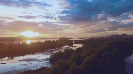 vários : aerial view of sunset over siberian river