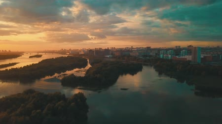 greater : sunset at summer in siberian city Stock Footage