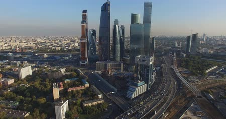 irodaház : Moscow City business center Stock mozgókép