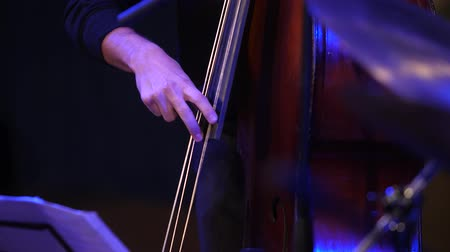 Double bass. Hands playing contrabass player musical instrument.
