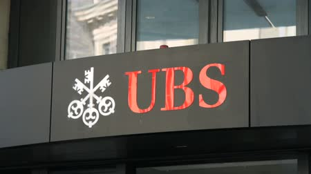 marca : Sequence of few shots of UBS bank in Geneva, Switzerland, during winter.
