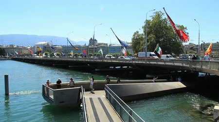thoroughfare : Geneva bridge. Find similar clips in our portfolio.