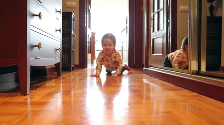 dom : Happy adorable baby girl crawling over a wooden floor at home Wideo