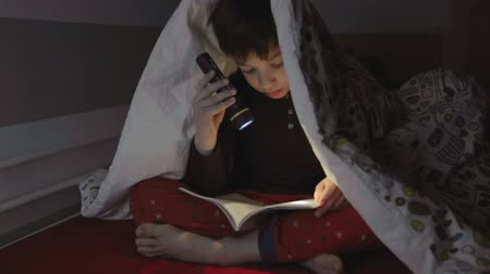 Boy reading a book with a flashlight under the duvet Stock Footage