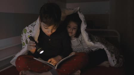 paplan : Boy telling a story to his sister lighting up with a flashlight Stock mozgókép