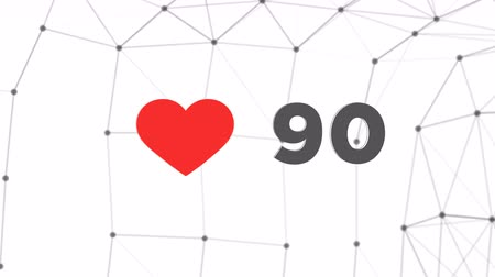 destaque : Animated counter of red hearts to 1000 likes in 3d space. Counting number to hit thousand with polygonal plexus network modern backround. 4k digital