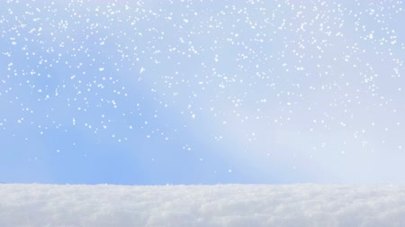 gevreği : motion of winter snowflake snowfall on a blue sky backgrounds Stok Video