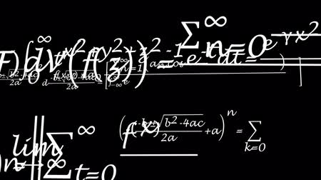 matemática : mathematical formulas fly through the dark space and become blurred in the far distance