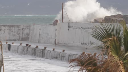 crete : High waves breaking over a harbor wall, Agia Gallini, Crete, Greece Stock Footage