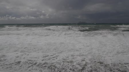 Heavy storm causing raging waves and breakers, Crete, Greece