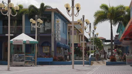 Shopping street in Jolly Harbor on the Caribbean Island of Antigua