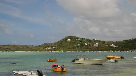 Lively caribbean beach scene on the island of Saint Barthelemy