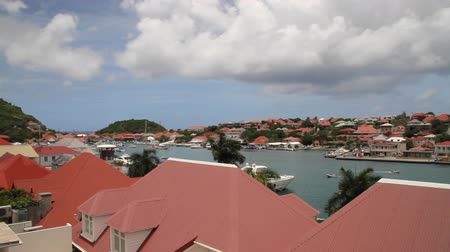 Harbor of Gustavia, Island of Saint Barthelemy, Caribbean, France Stock Footage