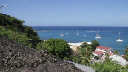 eustatius : Main harbor and anchorage at Oranjestad bay on the Dutch Caribbean island of St. Eustatius Stock Footage