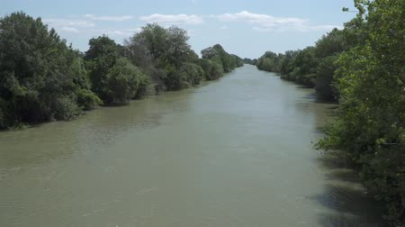 forrado : Tree lined Aude river in southern France Languedoc region