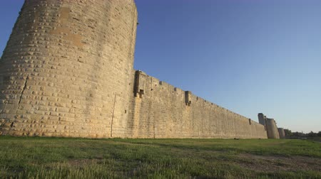 Fortress of Aigues Mortes in southern France - outside wall Stock Footage