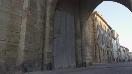 Gate of the fortress of Aigues Mortes in southern France Stock Footage