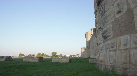 Fortress of Aigues Mortes UNESCO world hertage site - outside walls - panning shot Stock Footage