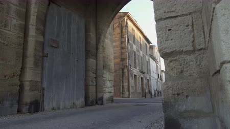 Panning shot - Gate of the fortress of Aigues Mortes in southern France
