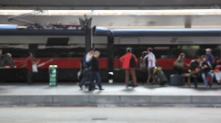 dojíždění : Train arrives at train station