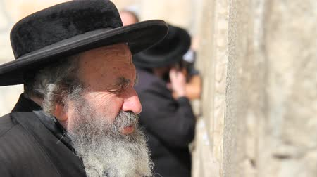 wailing : Jerusalem, January 22, 2014: January Orthodox hasidic Jew praying at Wailing Wall in Jerusalem, Isreal Stock Footage