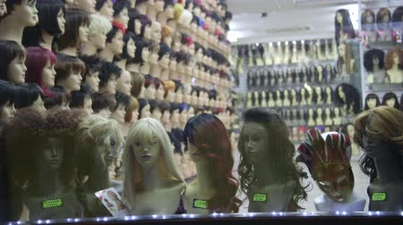 stylization : Store with wigs Stock Footage