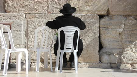 wailing : Orthodox hasidic Jew praying at Wailing Wall in Jerusalem, Isreal