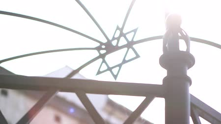 kazimierz : Jewish Star of David on a monument in Krakow Stock Footage
