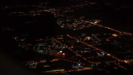 warszawa : City at night from plane, Warsaw