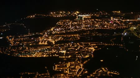 portugese : Lisbon at night aerial Stock Footage