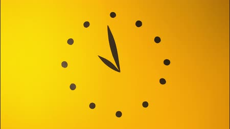 ticker : Clock watch ticker coffee time to drink cocktail stop motion animation animated cartoon yellow background paper art craft for your logo brand commercial advertisement restaurant colorful morning party