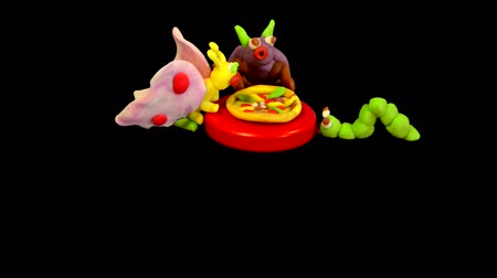 пластилин : Bug worm and butterfly insects eating pizza plasticine colorful fun background chroma key stop motion animation animated cartoon for your brand logo commercial advertisement advertising template party