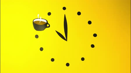 kartpostal : Clock watch ticker coffee time to drink cocktail stop motion animation animated cartoon yellow background paper art craft for your logo brand commercial advertisement restaurant colorful morning party