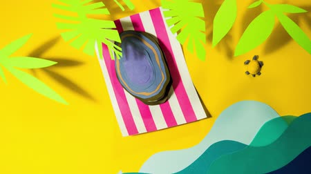 sand paper : Mussel shell on the beach deck chair lounge palms sea ocean waves turtle stop motion animation cartoon animated for your brand logo background template frame colorful yellow sand tropics sun vacation