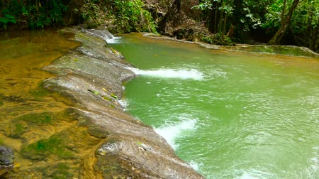 lâmina : Bright colorfull natural pool in exotic rainforest. Tropical jungle landscape