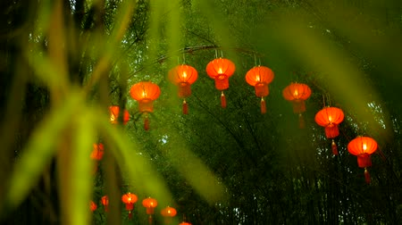 thai kültür : Rows of traditional chinese style red lanterns hanging on bamboo tree tunnel arch. Decoration lamps for Chinese Lunar New Year festival. Tropical oriental garden. Bamboo fresh green leaves background. Stok Video