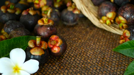 sklizené : Top view of fresh delicious harvested mangosteens on wooden table. Thai organic purple fruit in the basket. Exotic natural blurred background with tropical flower. Healthy food and eating concept.