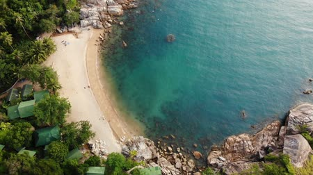 stone fruit : Aerial drone top view of white sand tropical exotic paradise tiny shore in Koh Prangan island, Thailand. Small boats on ocean surface. Cute remote beach with volcanic stones and green coconut palms. Stock Footage