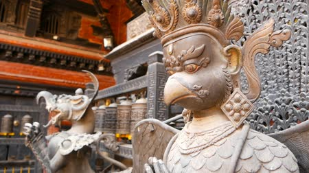 patan : Ancient bronze and brass mythological sculptures and artifacts, Rudra Varna Mahavihar, unique golden buddhist temple in Lalitpur (Patan). Tibetan buddhism. Durbar Square, Nepal.