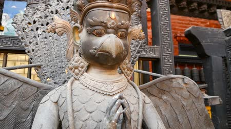 patan : Ancient bronze and brass mythological sculptures and artifacts, Rudra Varna Mahavihar, unique golden buddhist temple in Lalitpur (Patan). World heritage site. Tibetan buddhism. Durbar Square, Nepal.