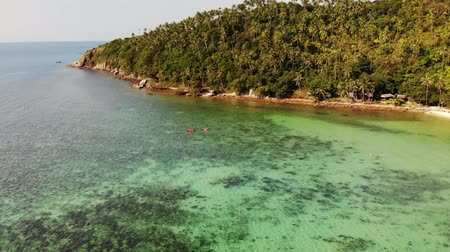 Aerial drone view small Koh Ma island, Ko Phangan Thailand. Exotic coast panoramic landscape, Mae Haad beach, summer day. Sandy path between corals. Vivid seascape, mountain coconut palms from above Stok Video