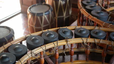 khong : Vintage thai style khong wong lek and drums. Wooden khong wong lek with gongs and traditional drums placed on wooden floor. Thailand music culture objects