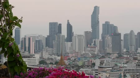 metropolitan area : View of traditional and modern buildings of oriental city. Beautiful flowerbed against cityscape of traditional houses and skyscrapers on misty day on streets of Bangkok or Krungtep