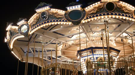 poník : Illuminated merry go round in park. Brightly illuminated roundabout spinning in wonderful amusement park at night.